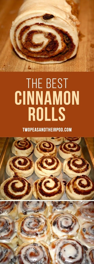 Cinnamon Rolls with Frosting are perfect for breakfast, brunch, and the holidays. Everyone that makes this recipe says they are the BEST! #cinnamonrolls #breakfast #holidays #Christmas Visit twopeasandtheirpod.com for more simple, fresh, and family friendly meals.
