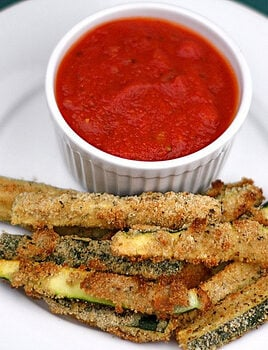 parmesan zucchini fries served with marinara dip