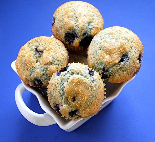 Blueberry Lemon Cream Cheese Muffins on twopeasandtheirpod.com