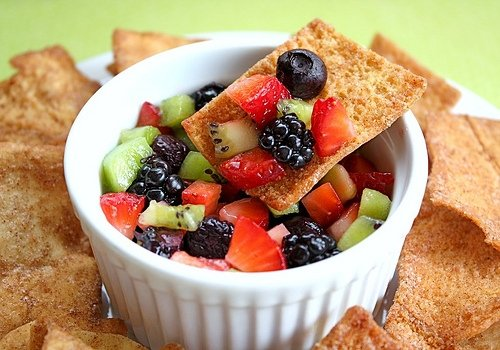 Fruit salsa made with berries, lime juice and agave