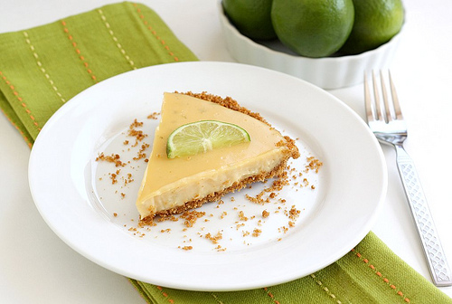 homemade key lime pie on plate ready to serve