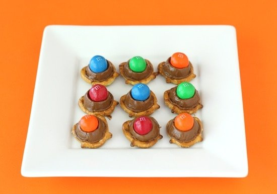 Rolo Pretzels with M&M's make a great holiday treat or any day treat!