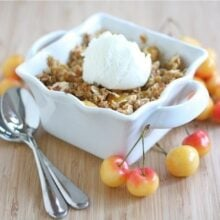 Fresh Cherry crisp topped with vanilla ice cream