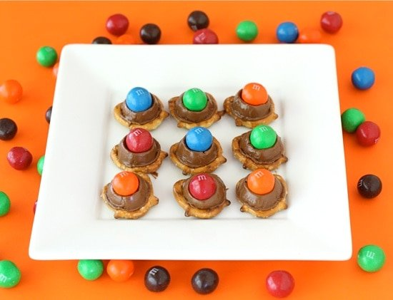 Rolo Pretzels with M&M's are a great easy treat!