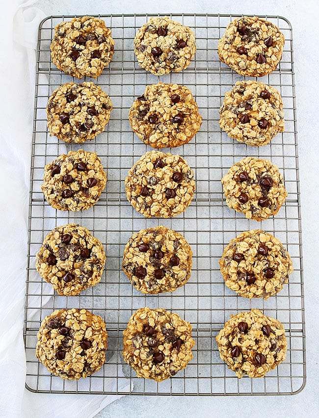 Banana Oatmeal Cookies on cooling rack