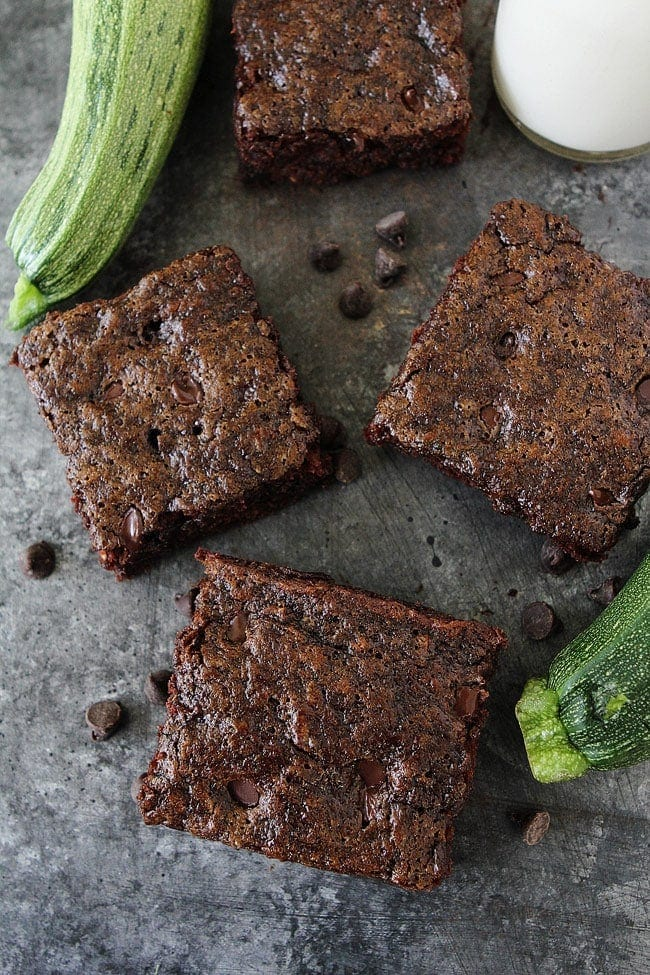 Easy Zucchini Brownies with chocolate chips