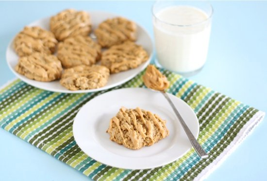 peanut butter banana honey cookies on plate