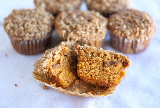 Pumpkin Cinnamon Streusel Muffin Recipe on twopeasandtheirpod.com