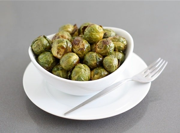 pile of baked brussel sprouts in serving dish