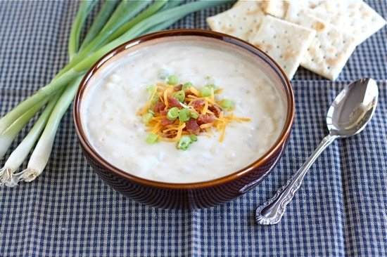 Baked Potato Soup Recipe with Cheese and Onions