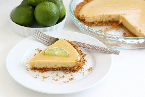 Best key lime pie slice on serving plate