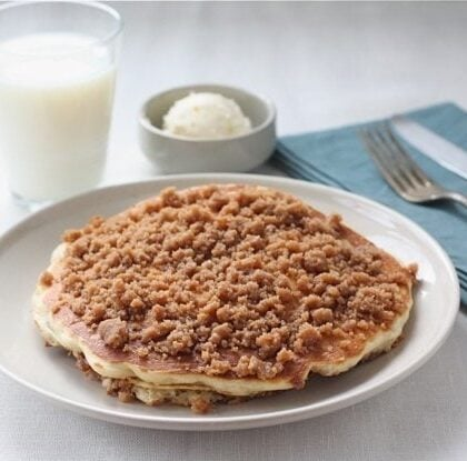 cinnamon pancakes served with milk and butter