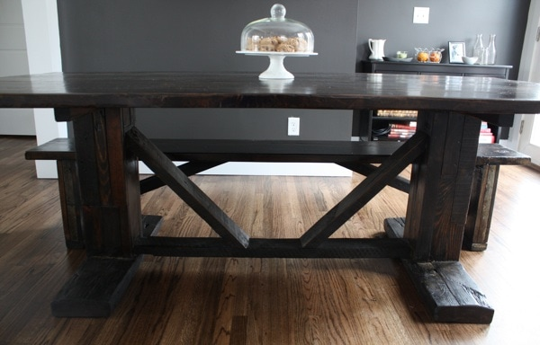 Our New Farm Dining Table Two Peas Their Pod - Dark wood farm table