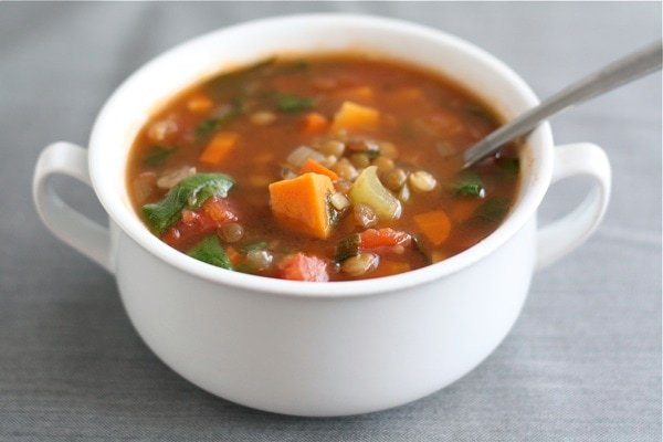 How to make Lentil Soup with sweet potatoes and spinach