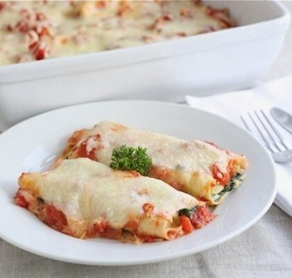 spinach cannelloni plated and ready to serve