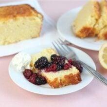 Lemon ricotta cake served with fresh berries