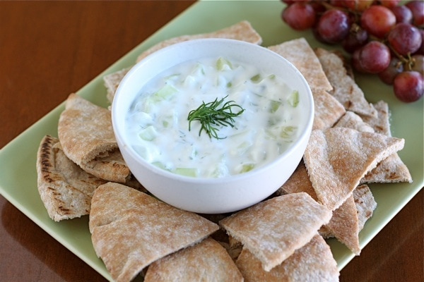 Pita bread with cucumber Tzatziki Sauce