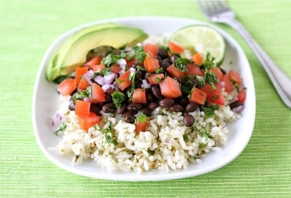 Easy Mexican Rice Bowls on twopeasandtheirpod.com A quick and easy weeknight meal!