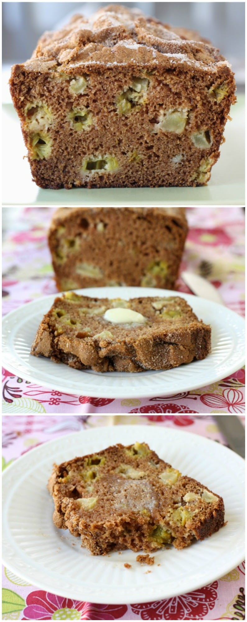 Rhubarb Apple Bread Recipe on twopeasandtheirpod.com This easy quick bread is the perfect bread for spring!