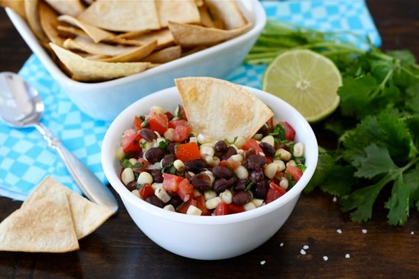Black Bean Corn Salsa Recipe with tortilla chips