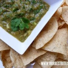 tomatillo salsa ready for dipping