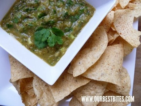 tomatillo sauce or tomatillo salsa with chips