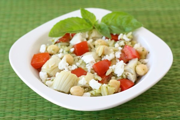 Summer Salads - orzo salad with lemon basil dressing