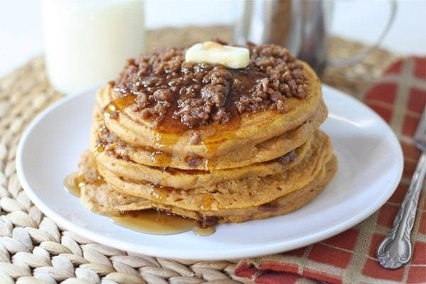 Pumpkin Cinnamon Streusel Pancake Recipe on twopeasandtheirpod.com The BEST pumpkin pancakes!