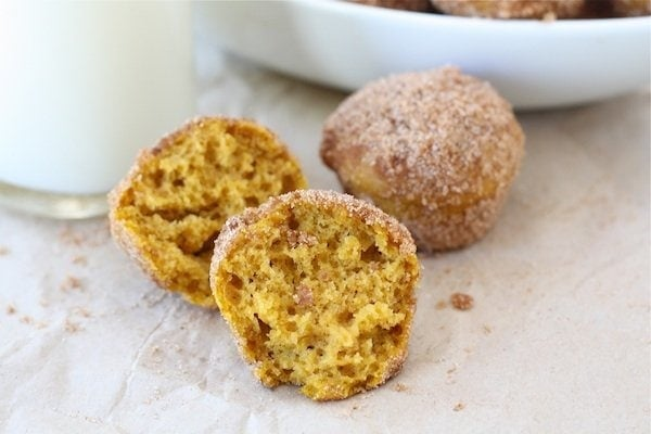 Easy Baked Pumpkin Donut Hole Recipe on twopeasandtheirpod.com