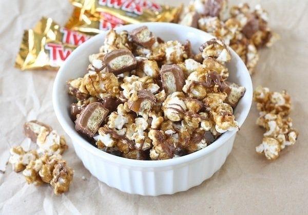A bowl of Twix Popcorn