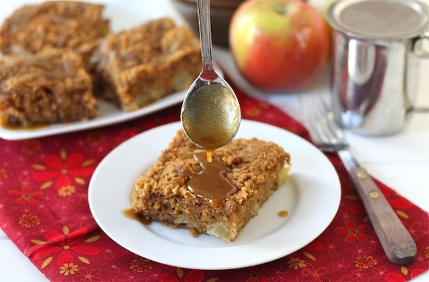Apple Coffee Crumb Cake with Brown Sugar Glaze Recipe on twopeasandtheirpod.com This cake is SO good!