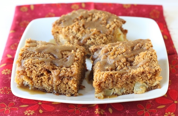 Apple Coffee Crumb Cake with Brown Sugar Glaze Recipe on twopeasandtheirpod.com #recipe