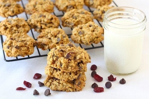 Pumpkin Oatmeal Cookies with milk