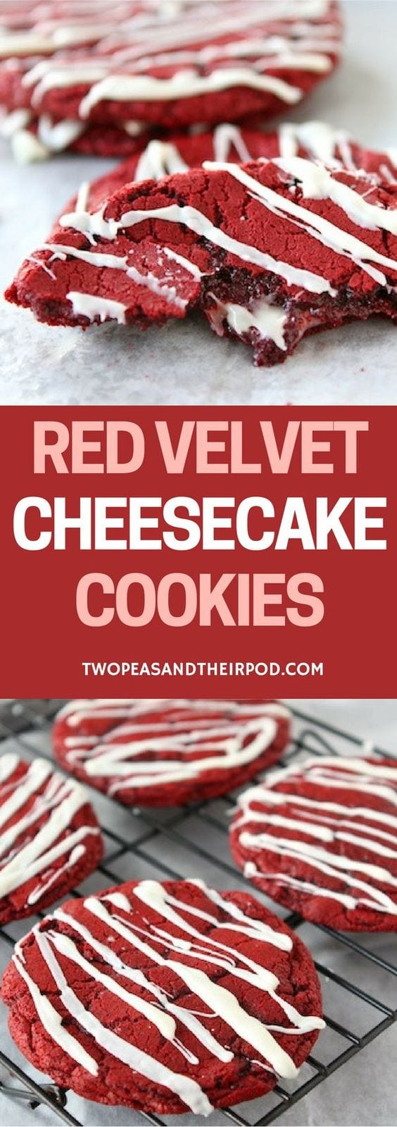 Red Velvet Cheesecake Cookies-you will love the cheesecake surprise in these easy red velvet cookies! #redvelvet #cheesecake #cookies #ValentinesDay #Christmas