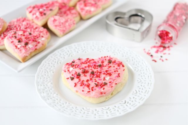 valentine's day sugar cookie on plate