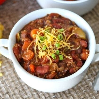 Vegetarian chili with protein-packed quinoa in serving bowl