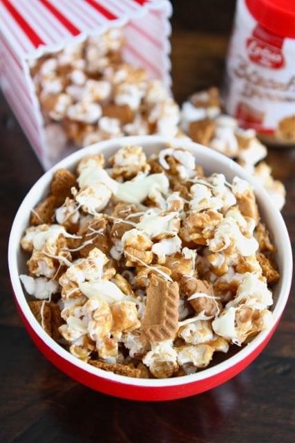 A close up of a Biscoff cookie popcorn