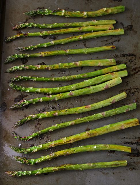 Roasted Asparagus on Baking Sheet
