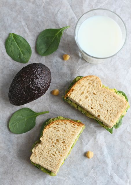 Smashed Chickpea Avocado Sandwich with milk
