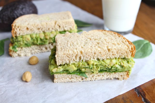 Smashed Chickpea Avocado Salad Sandwich