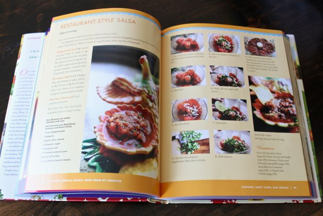 Pioneer Woman Cookbook opened to homemade salsa recipe