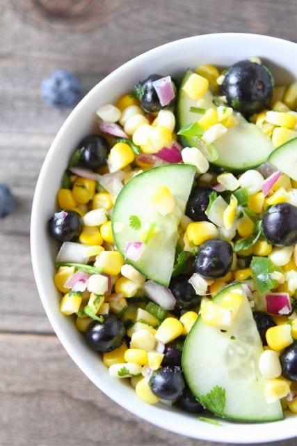 Blueberry Corn Salad in serving dish