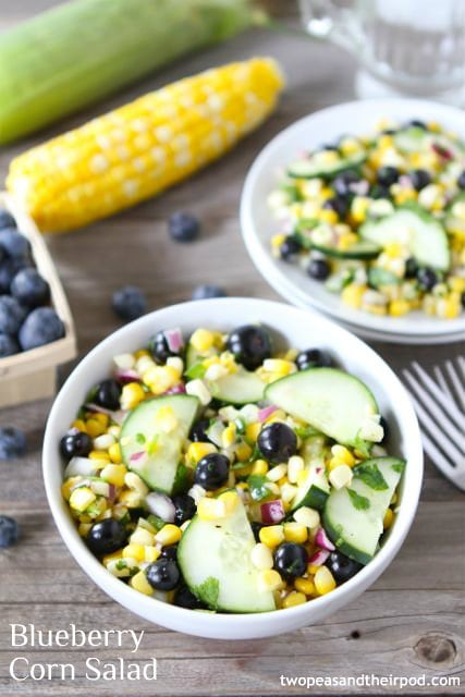 Corn Salad with blueberries, cucumber, and red onion