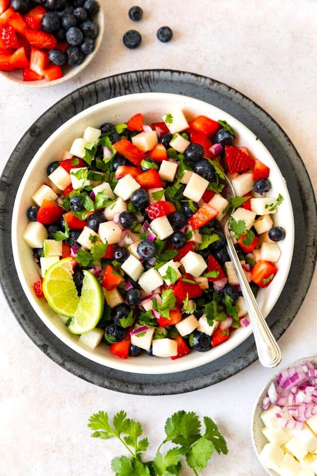 easy blueberry strawberry jicama salsa in bowl