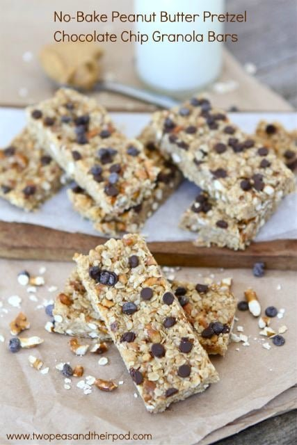 No-Bake Peanut Butter Pretzel Chocolate Chip Granola Bars are easy to make at home.