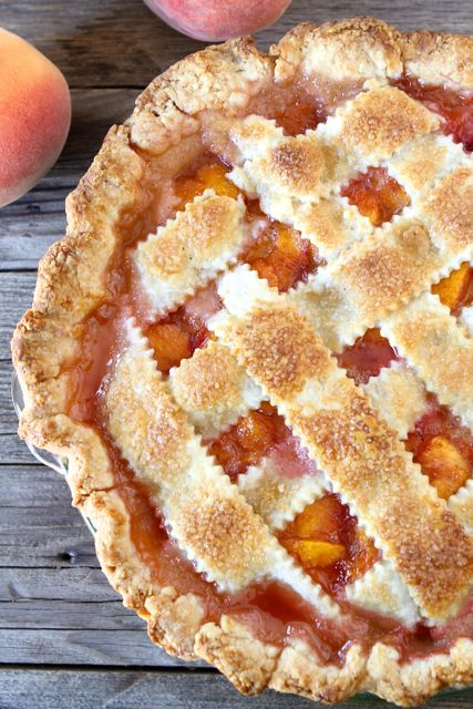 Peach pie with lattice crust top