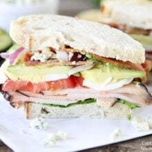 sliced cobb salad sandwich with eggs and bleu cheese