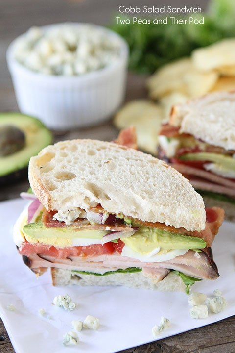 Cobb Salad Sandwich loaded with bacon, turkey and avocado