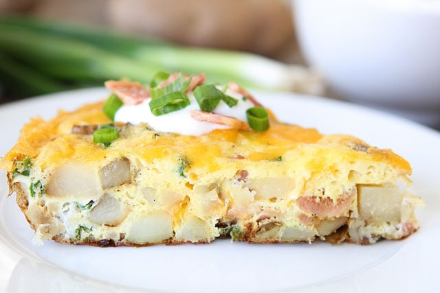 Loaded Baked Potato Frittata Slice on plate