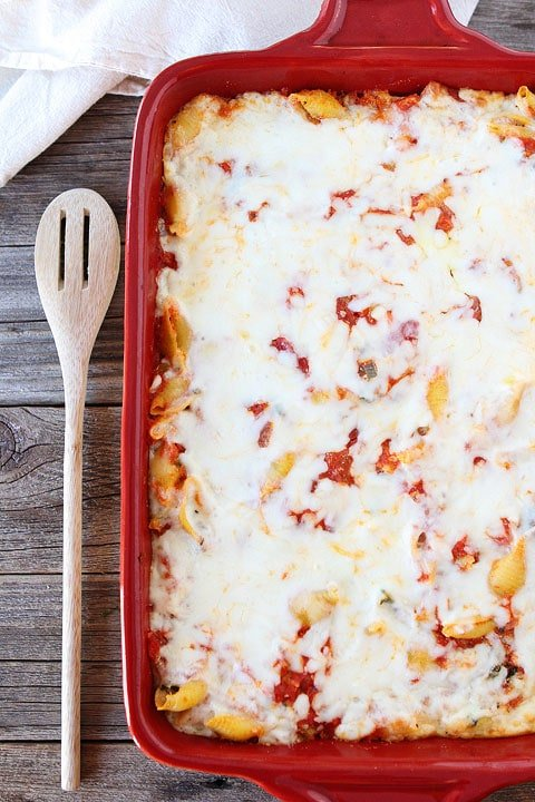 ricotta pasta bake with spinach in casserole dish
